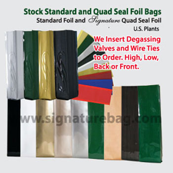 Signature Line TM  Standard  Side Gusset And Quad Seal  Coffee Bags
