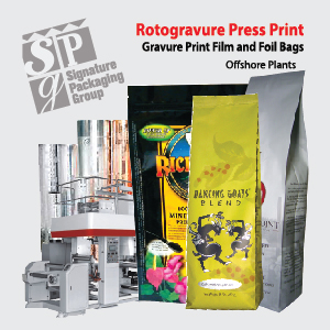 Rotogravure printing stand up zip pouches, box bottom bags, side gusset coffee bags