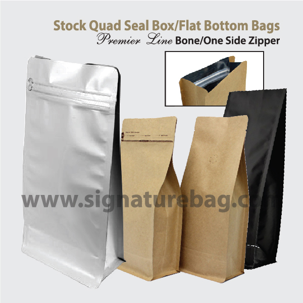 Flat Bottom Box Bottom Quad Seal Bags