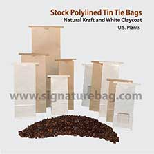 Signature Packaging Kraft Paper Tin Tie Bags